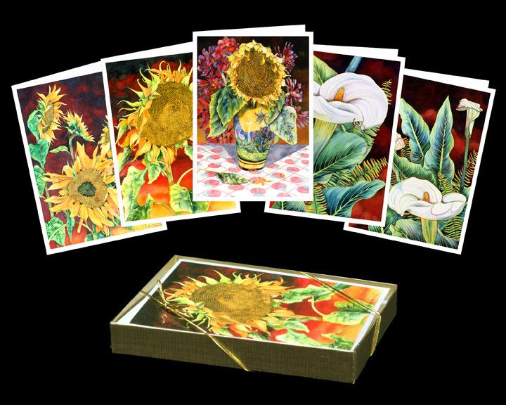 Myra epstein fine art gallerygreeting cards 1501 sunflowers and calla lilies m4hsunfo