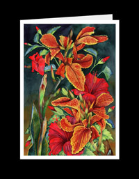 TR02_135-Red Hibiscus With Cannas